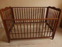 Lovely Walnut Cot with New Mattress