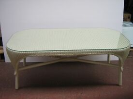 Lloyd loom wicker sofa, armchair and glass top coffee table suite.