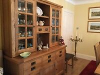 Oak solid dresser+ Table +8chairs and leather king size bed
