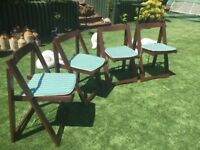 Four Wooden Folding Patio Chairs - cushions included