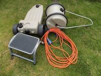 Caravan Equipment. Aqua roll, wastemaster, caravan step and electric lead.