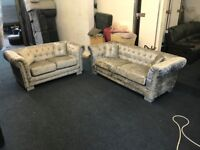 DESIGNER FULL CHESTERFIELD SILVER CRUSHED VELVET 3 AND 2 SEATER SOFA SET THREE PLUS TWO FREE DELIVER