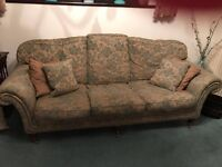 Damask Pattern Antique Style Large Sofa, x2 armchairs and stool