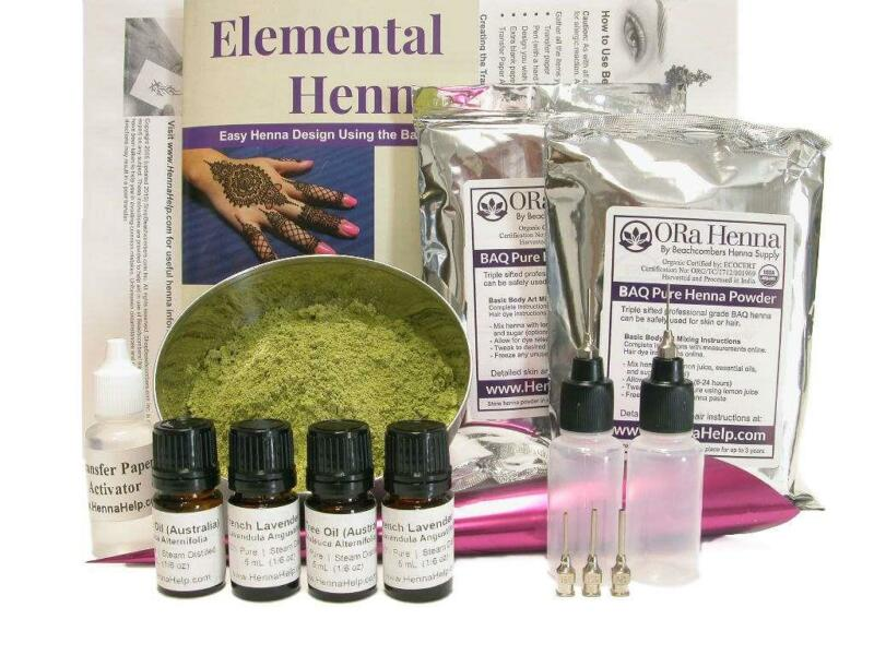 ULTIMATE Henna Kit: 200g Powder Oil Applicator Bottles Transfer Paper & Book
