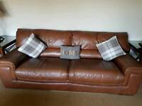 Brown Leather 3 seater, 2 seater sofa's plus Armchair and foot stall