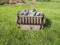 Coal effect, gas fire, basket and coals - cast iron/ brass - fully working
