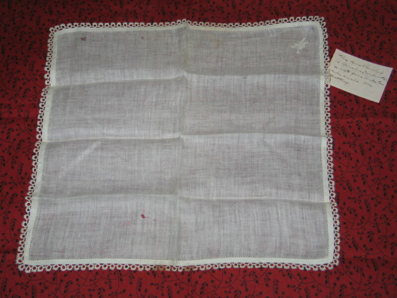 "Antique Hand Embroidered Monogram~""M"" Lace Handkerchief Hanky~Provenance c1870s"