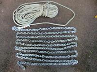Anchor chain spliced to warp