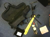 Alto sax gig bag, stand and accessories