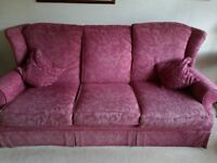 Dusky Pink 3 seater sofa and single armchair for sale