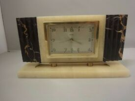 Art Deco BAYARD Mantle Clock in sqaure form marble french 1930s