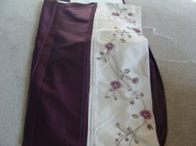 Curtains one pair as new with tie backs one feature door curtain lamps cushions etc.,