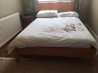 John Lewis wooden double bed win matching side table