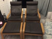 Ikea Brown Leather and Oak framed Chairs with matching footstools, very good condition, little used.