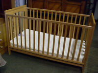 Pine cot bed with mattress