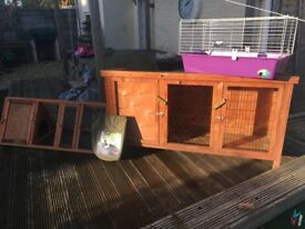 Rabbit/guinea pig hutch, thermal cover, small run and indoor cage.