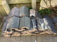 Staffordshire blue reclaimed angled coping top tiles