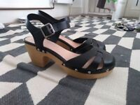 ASOS black leather chunky heeled sandals / clogs