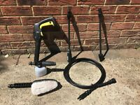 Karcher pressure washer hose, foam jet nozzle, brush, vario and dirt blaster lances (+ K2 spares)