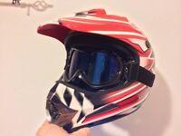Takachi Motorcycle Helmet & Tinted Goggles
