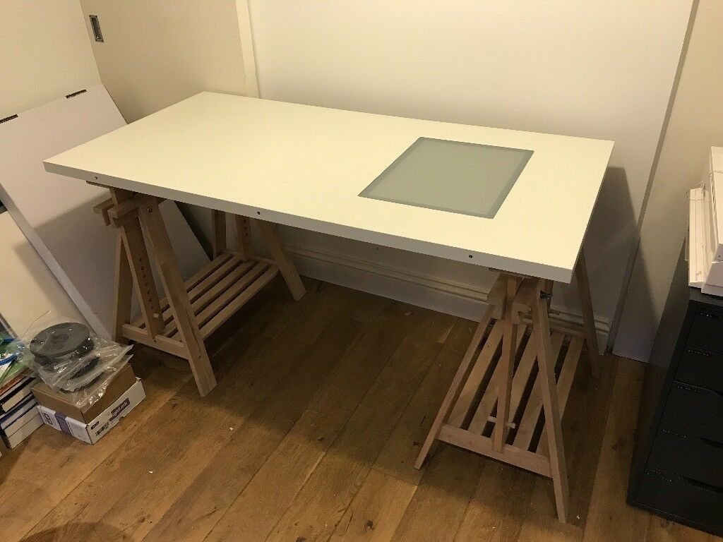 Ikea Standing Artist Architect Drafting Desk W Adjule Legs And Light Box