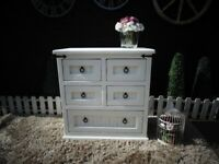 SOLID PINE FARMHOUSE CHEST OF DRAWERS 4+1 DRAWERS PAINTED WITH LAURA ASHLEY PALE DOVE AND WAXED
