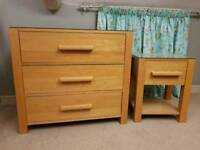 Oak drawers and bedside table