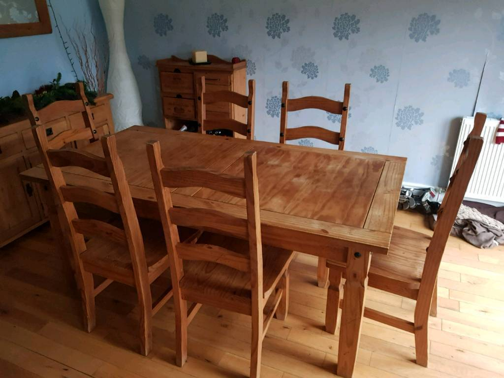 Mexican Pine Dining Table 6 Chairs