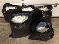 4.5 x BIN LINERS FULL OF LOOSE WHITE POLYSTYRENE PEANUTS PACKING CHIPS