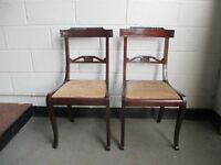 PAIR OF MAHOGANY SABRE LEG DINING CHAIRS FREE DELIVERY