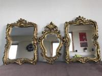 3 gold ornate framed vintage mirrors