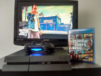Ps4 console with wireless controller and GTA V