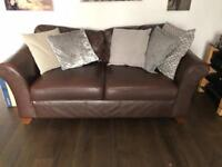 Marks&spencers leather sofas and footstool