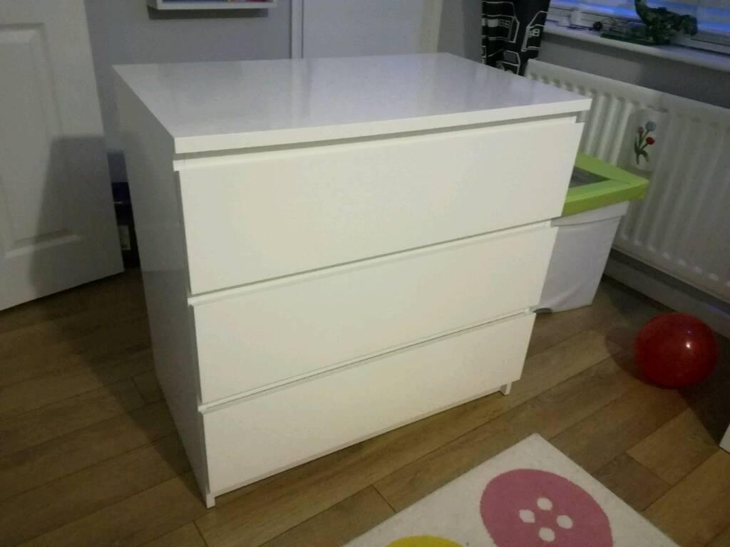Ikea malm white drawers