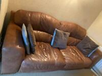 Calf Leather Sofa (3 piece set) (4 seater, large 2 seater and a 1 seater)