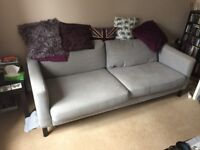 3 seat Ikea Karlstad grey sofa and chair.