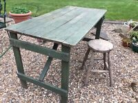 1940s RUSTIC potting shed table - work stool - oak chopping block -vintage heavy lawn roller