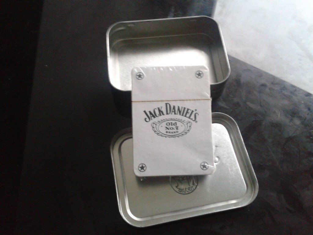 THE Jack Daniel's playing cards - SEALED w/original weathered-look tobacco tin
