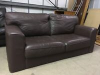 Designer Leather Sofa (seats 2/3) Clean Comfortable, Read For A New Home (Dimensions in description)