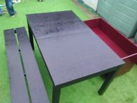 Black extendable table with 1 bench