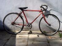 "Junior Road Bike by Raleigh, Orange, 24"" Wheels for Shorter Riders, Needs Restoring, CHEAP PRICE!!!"