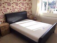 King size dark brown leather bed & mattress