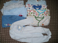 Bundle of 41 baby boy clothes 0-3mths. Bodysuits,tops,sleepsuits,trousers,cardigan plus free socks.