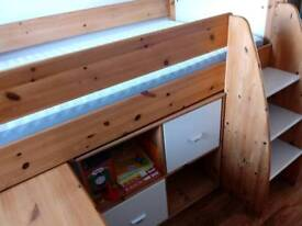 Stompa Mid sleeper Childrens bed with 2 book cases and pull out desk