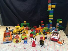 Big bag of Duplo, including number train and Planes set