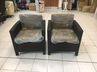 Allibert Modena Rattan Garden Chair with Back & Seat Cushions ONLY 1 SINGLE CHAIR LEFT