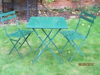 Dark Green Metal Folding Table and 2 Matching Chairs
