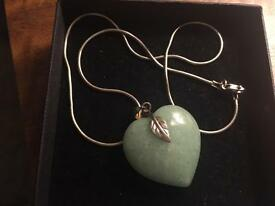 Silver and jade pendant and chain