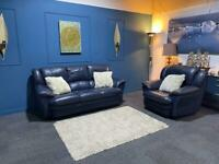 Navy blue leather suite 3 seater sofa and chair
