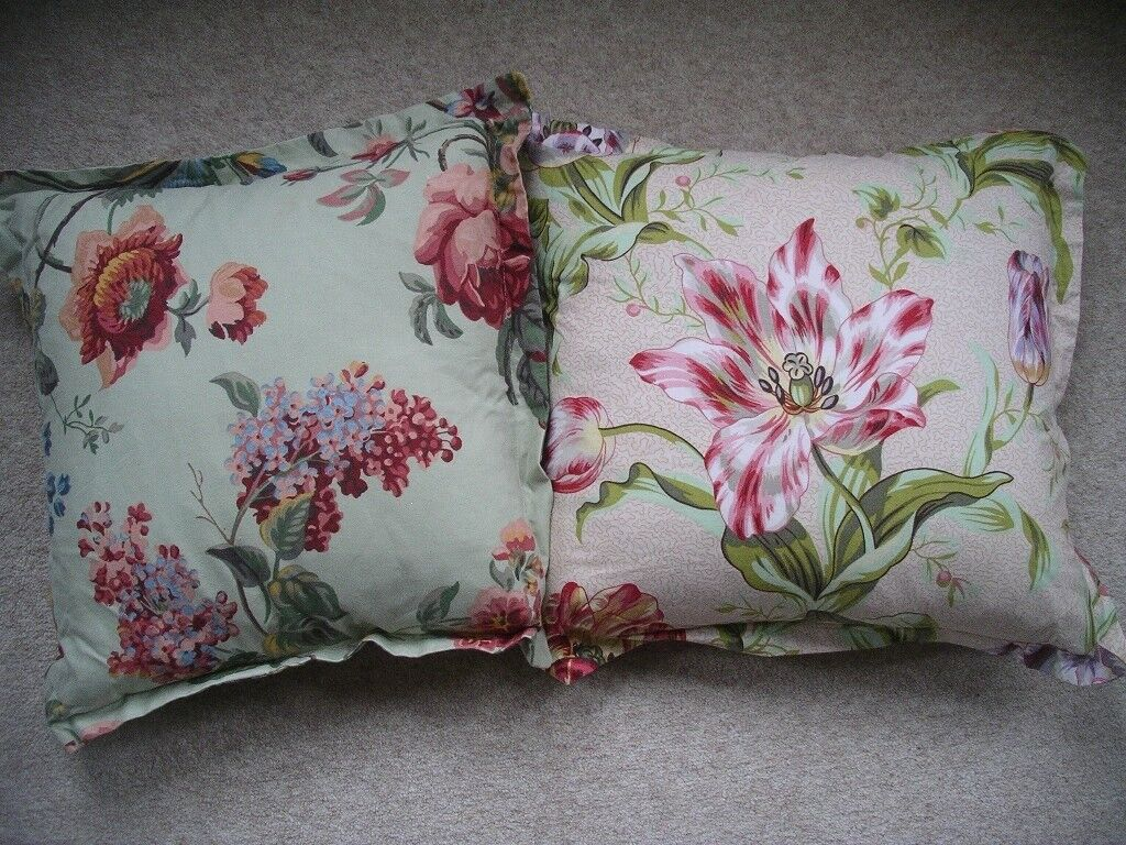 Two plump feather filled shabby chic floral cushions 100% cotton lilac roses tulip washable